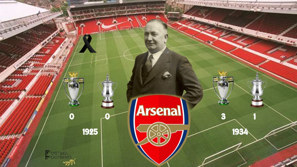 Arsenal trophies before and the moment Herbert Chapman passed away